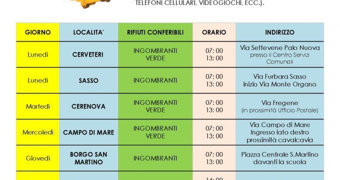 Raccolta Rifiuti Ingombranti Roma Calendario 2020.Cerveteri Nuovo Calendario Dei Container Itineranti Per La