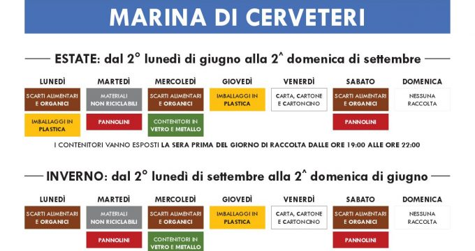 Calendario Raccolta Differenziata Cerveteri.Raccolta Differenziata Porta A Porta Importanti
